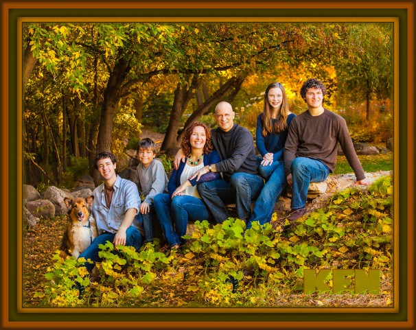 Family of 6 plus the family pet in the Fall foliage at KenMar