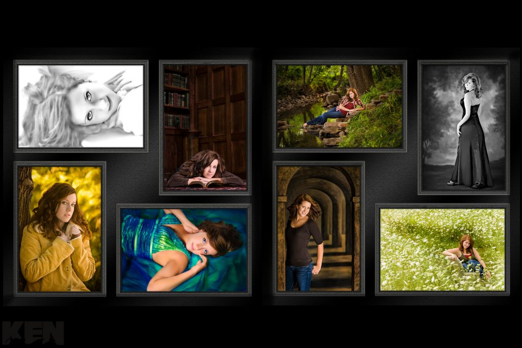 This variety and arrangement of KenMar Photography's high school, senior-graduation pictures was awarded Best in the State by Wisconsin Professional Photographers Association.